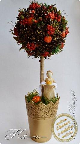 Осеннее дерево сделано на праздник осени в детский сад. Использовала природный материал (шишки, каштаны, рябина,шиповник, мох, кукурузные листья, различные сухие травинки.) акриловые краски, горячий клей. фото 1