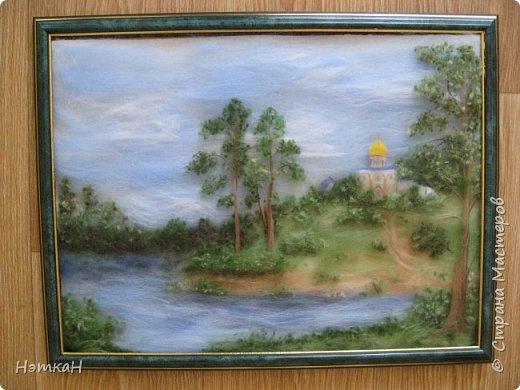 Летний  пейзаж. Картина выполнена в технике шерстяная живопись размер 30х40.