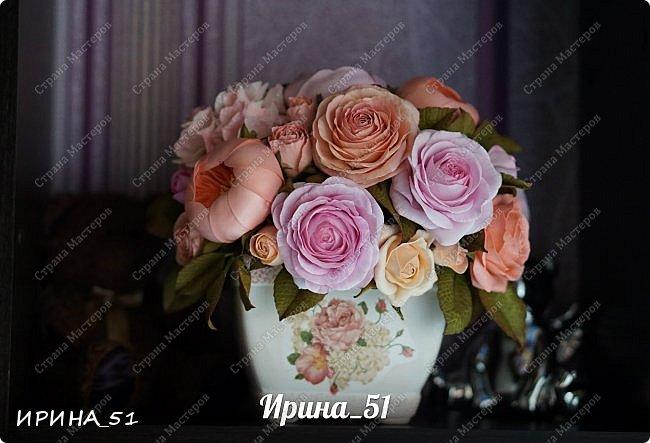 Здравствуйте! Представляю на Ваш суд  композицию с цветами из фоамирана и колье для дочки из зефирного фома.  Практически все цветы в композиции выполнены из иранского фоамирана, только гортензия из зефирного.  Приглашаю к просмотру.  фото 12