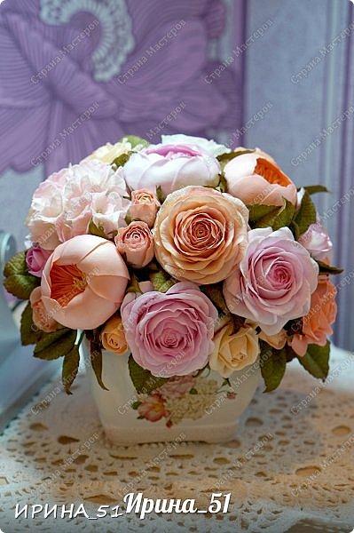 Здравствуйте! Представляю на Ваш суд  композицию с цветами из фоамирана и колье для дочки из зефирного фома.  Практически все цветы в композиции выполнены из иранского фоамирана, только гортензия из зефирного.  Приглашаю к просмотру.  фото 1