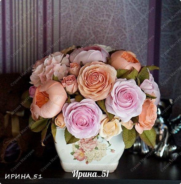 Здравствуйте! Представляю на Ваш суд  композицию с цветами из фоамирана и колье для дочки из зефирного фома.  Практически все цветы в композиции выполнены из иранского фоамирана, только гортензия из зефирного.  Приглашаю к просмотру.  фото 9