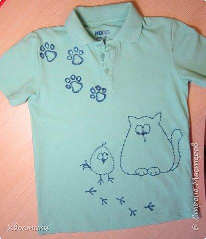 Дорогие мамочки, этот пост для вас! Если любимая футболка вашего ребятёнка испорчена пятнышками, которые не отстирываются (бывает и такое!), то не стоит от неё отказываться. фото 1