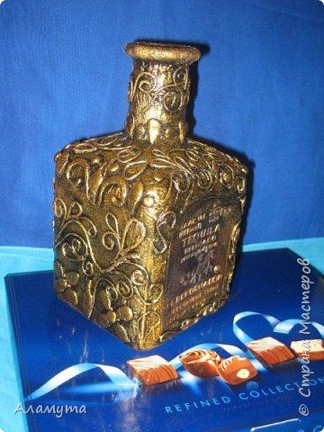 Декоративная бутылка в технике Пейп Арт фото 2