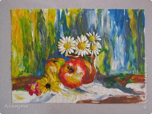 """Картина """"Маки"""" живопись пластилином по бумаге фото 2"""
