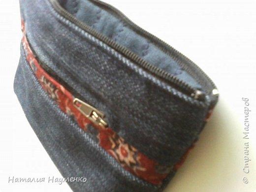 Ну что можно сказать о воплощении этой задумки? Хотела джинсовый кошелек. Из первоначального замысла остались форма и непосредственно джинсовая ткань. Хотела вышить объемного жучка, но в процессе оказалось, что он тут не к месту :) фото 4