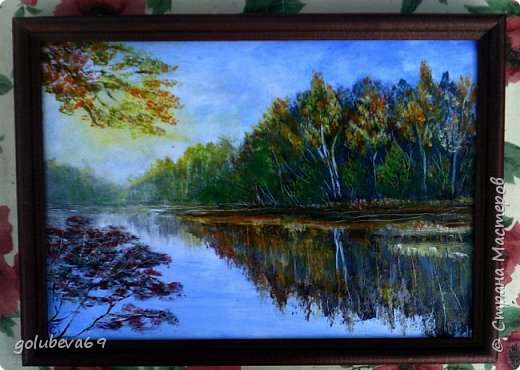 Осень. Картина нарисована акрилом на оргалите. Размер 21X30. Видео МК Александра Григорьева на Ютубе. фото 1