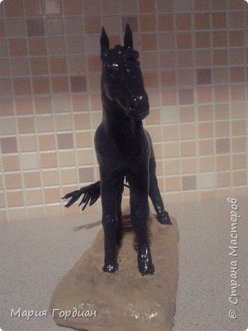 Здравствуйте жители страны! Решила выложить новую работу после долгого перерыва. Это новый житель моей мастерской - Макулай. Выполнен из темного скульптурного пластилина, подставка из бежевого. Старалась сохранить анатомическое сходство с лошадью. фото 2