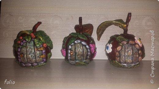 Здравствуйте, мастера! Вот еще одну работу закончила, на этот раз решила сделать яблочки в своей любимой технике, которой меня научила Надежда Н.К. http://stranamasterov.ru/node/848291, еще раз спасибо ей)) Казалось бы, яблочки не большие, по размеру как настоящие, вроде бы и работы не много. Но, оказалось совсем не так...  Яблоки же круууглыыыеееее!!!!  Ну очень не удобно наносить тесто по кругу, да и дальнейшая работа по очереди.. сохнет то верх, то низ... красить то верх, то низ... лачить ... и т.д.  Время ушло не мало... фото 1