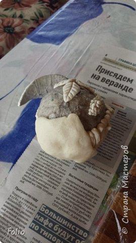 Здравствуйте, мастера! Вот еще одну работу закончила, на этот раз решила сделать яблочки в своей любимой технике, которой меня научила Надежда Н.К. http://stranamasterov.ru/node/848291, еще раз спасибо ей)) Казалось бы, яблочки не большие, по размеру как настоящие, вроде бы и работы не много. Но, оказалось совсем не так...  Яблоки же круууглыыыеееее!!!!  Ну очень не удобно наносить тесто по кругу, да и дальнейшая работа по очереди.. сохнет то верх, то низ... красить то верх, то низ... лачить ... и т.д.  Время ушло не мало... фото 18