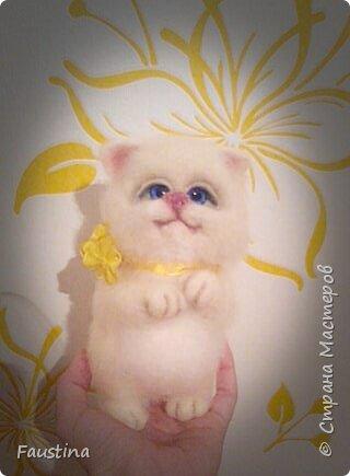Здравствуйте,дорогие мастера! Сегодня в нашем кошачьем семействе пополнение! Это маленькая ручная кошечка Баффи! Материал:шерсть Семеновская,глазки стеклянные,тонировка пастелью и акрилом. Очень жаль,что фото перевернулись,хотела еще  небольшой отчет по этапам работы сделать,но...Видимо в другой раз.Приятного просмотра! фото 3