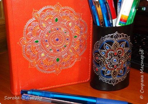 Точечная роспись ежедневника и карандашницы. фото 2