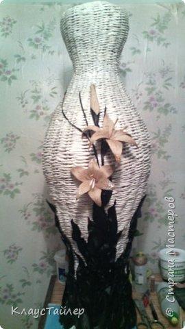 Всем большой привет кто заглянул.  Решил показать свою напольную вазу, высотой больше 125см Сплетена из кожи, основа из картона,  фото 12
