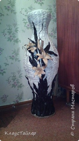 Всем большой привет кто заглянул.  Решил показать свою напольную вазу, высотой больше 125см Сплетена из кожи, основа из картона,  фото 14