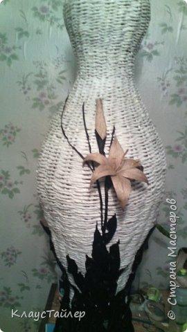 Всем большой привет кто заглянул.  Решил показать свою напольную вазу, высотой больше 125см Сплетена из кожи, основа из картона,  фото 10