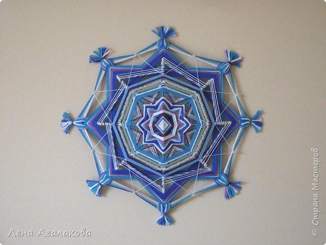 Хочу показать новую мандалу в синих тонах которую я сплела в пару к картине... фото 1