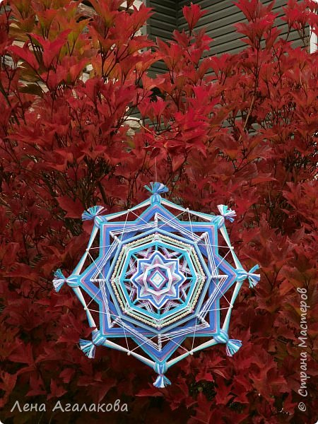 Хочу показать новую мандалу в синих тонах которую я сплела в пару к картине... фото 5