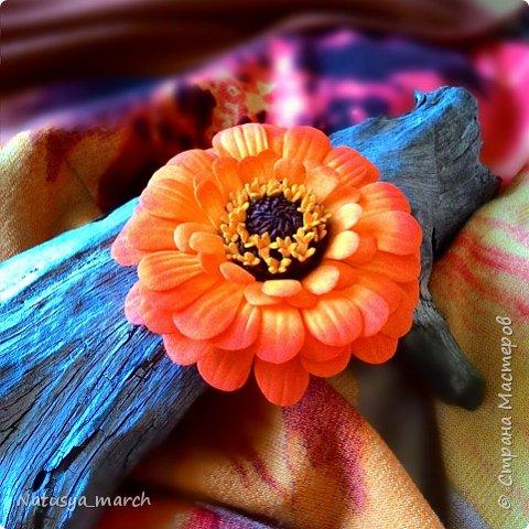 Анемона с гортензией -брошь. Тычинки из полимерной глины фото 11
