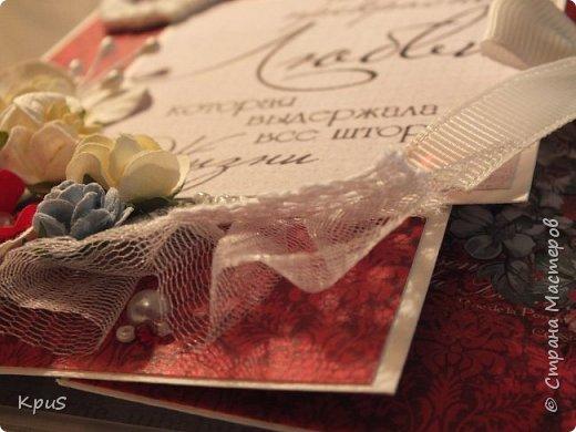 """Здравствуйте уважаемые жители СМ. Сегодня хочу показать Вам открытку, которую сделала своим родителям. Скоро у них будет годовщина свадьбы-40 лет совместной жизни. Использовала бумагу от ScrapBerry`s  """"Elegy"""", различные цветы, пластиковую рамочку и бисер, бусины. фото 3"""