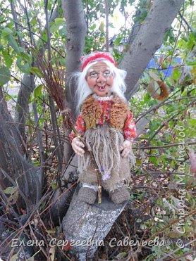 "Каркасная интерьерная кукла ""Баба-Яга"".  Рост 50 см. фото 3"