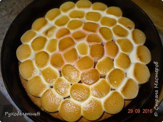 Всем добрый вечер. Сегодня балую вас сладеньким. Давно хотела испечь этот торт, т.к. соблазнял он меня своим внешним видом, а дети очень любят маршмеллоу.   Торт «Жираф» с маршмеллоу получил свое название благодаря оригинальному украшению.  Для украшения и придания соответствия названию,  на поверхности торта раскладываются кусочки зефира маршмеллоу,  имитирующие после кратковременного обжига раскраску шкуры жирафа. Сегодня у старшего сынули день рождения, вот и захотелось его удивить. Подвернулся случай, чтоб испечь этот торт. Торт на песочной основе с шоколадным кремом, украшенный сверху воздушным зефиром.                                        фото 17