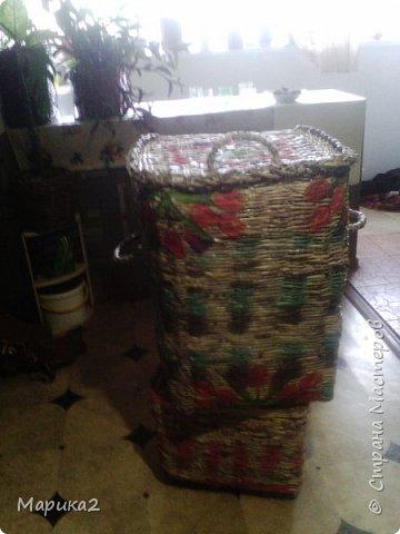 Корзина для белья под заказ для сына делала 3 дня, заготовки были на и до кручивала по ходу. фото 4