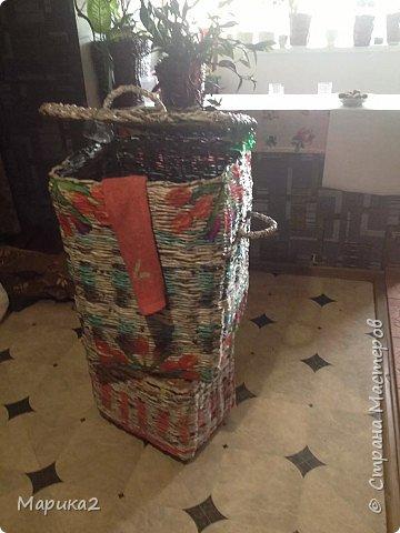 Корзина для белья под заказ для сына делала 3 дня, заготовки были на и до кручивала по ходу. фото 1