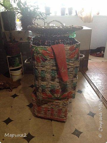 Корзина для белья под заказ для сына делала 3 дня, заготовки были на и до кручивала по ходу. фото 2