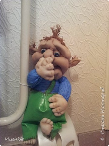 Забавный тролль в туалетной комнате