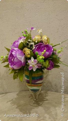 цветочная композиция с кварцевым песком и искуствеными цветами фото 2