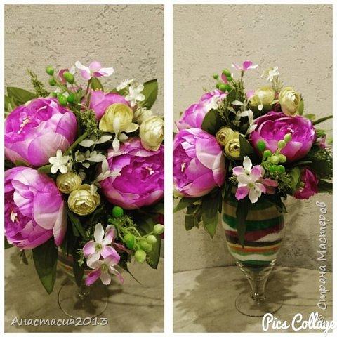 цветочная композиция с кварцевым песком и искуствеными цветами фото 1