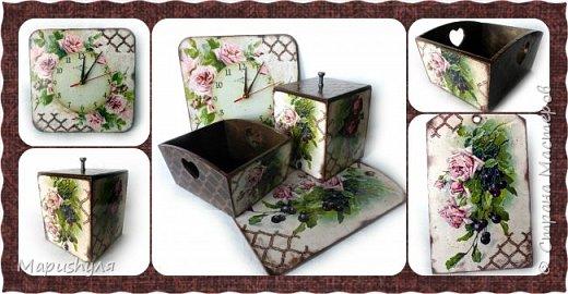 """Здравствуйте,мастера и мастерицы нашей замечательной Страны! Хочу представить на Ваш суд кухонный набор """"Винтажные розы"""". Дело в том, что давно мне нравились картинки с цветами художницы  CATHARINA KLEIN, но все в голове не укладывалось- куда бы их применить. В сентябре у любимой тетушки день рождения , наконец, я поняла, где я применю эти великолепные картинки. В набор входят часы, конфетница, короб для специй и разделочная доска. фото 15"""