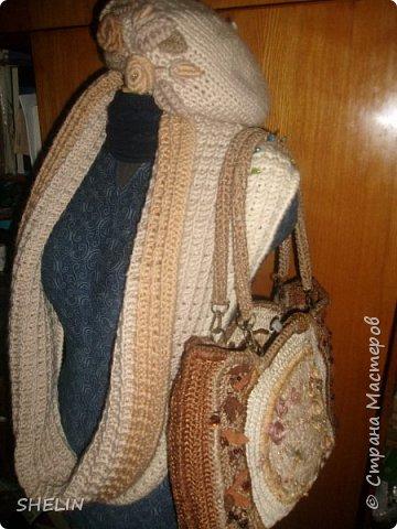 Снуд к берету и сумке фото 1