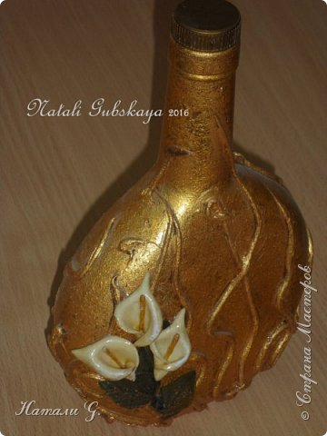 "Бутылка ""Каллы в золоте"" фото 2"