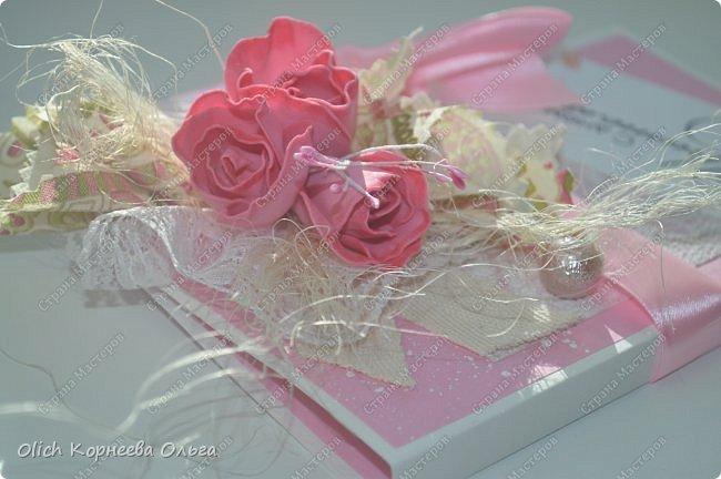 Шоколадницы на день учителя. Открываются книжкой. Основа - плотная бумага для акварели. Для декора использовала цветную бумагу, ленты, полубусины, кружево, фетр, салфетку, тычинки. Бутончики сделаны из фоамирана. фото 3