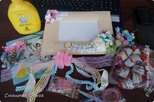 Приветик! Вчера получила посылочку по ПИФ- игре от Надежды http://stranamasterov.ru/user/413073 Сколько красоты прислала для меня Наденька, за что я ей очень благодарна! Смотрим! Красивущая рамочка для фото, она замечательная и такая нежная, ленточки, цветочки, книжечка для моего сынишки, мылко, вкусненькие конфетки и много мелкого декора. Все такое шебби-нежное и очень нужное! Спасибо Наденька, что взяла меня к себе в ПИФочки, я очень довольна!  фото 1