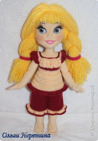 Куколка Аврора с набором одежды (связана крючком)  фото 3