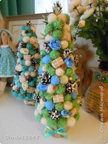 Всем здравствуйте. В компанию к моей первой бирюзовой ёлочке сотворилась вот такая зелено-голубая красавица. фото 1