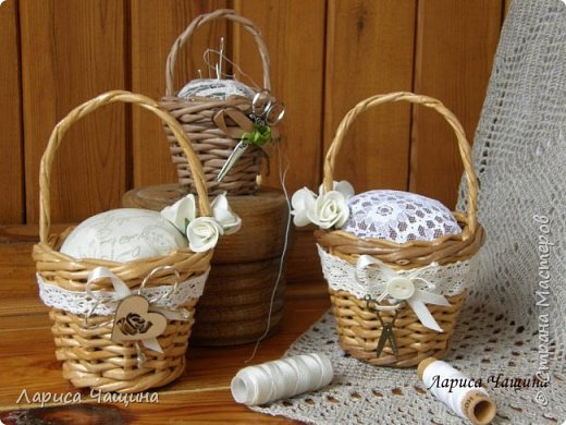 Маленькие корзинки - игольницы. фото 1