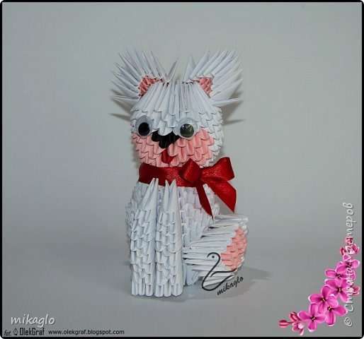 3d origami white cat фото 1