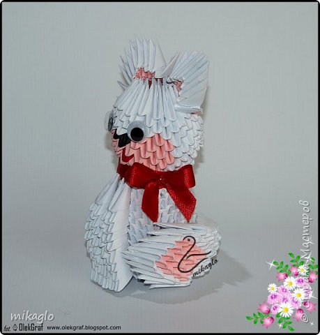 3d origami white cat фото 2