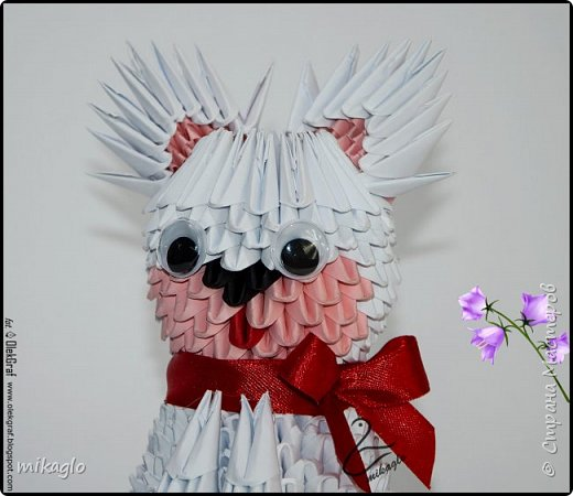 3d origami white cat фото 3
