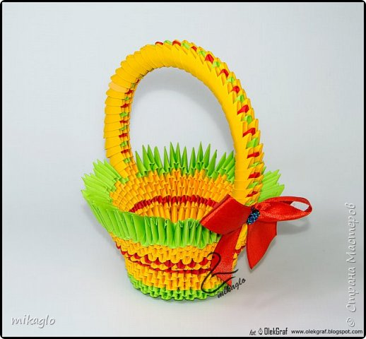 3d origami basket and bunny фото 2