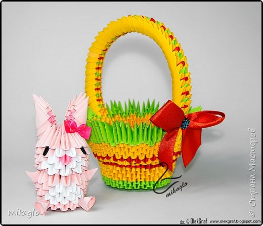 3d origami basket and bunny фото 1