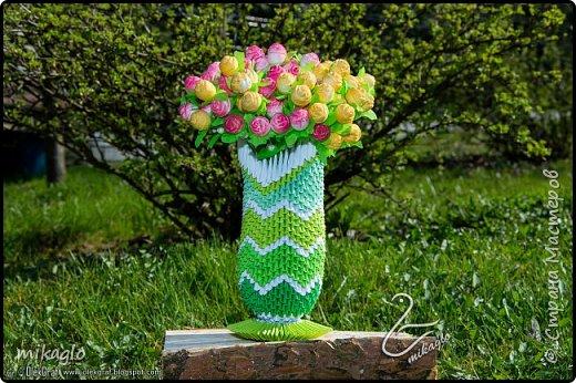 3d origami green vase фото 3
