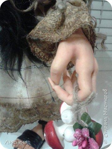 Бабка ежка. Кукла ручной работы.высота 40 см .Выполнена в смешанной технике(пластика плюс скульптурный текстиль) фото 8