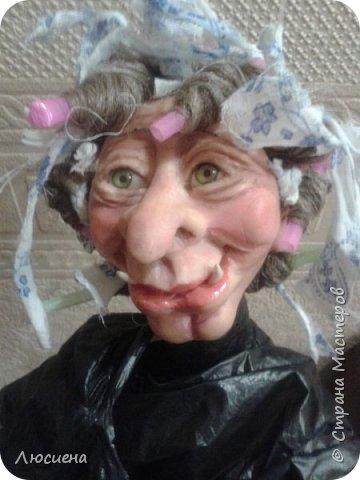 Бабка ежка. Кукла ручной работы.высота 40 см .Выполнена в смешанной технике(пластика плюс скульптурный текстиль) фото 11