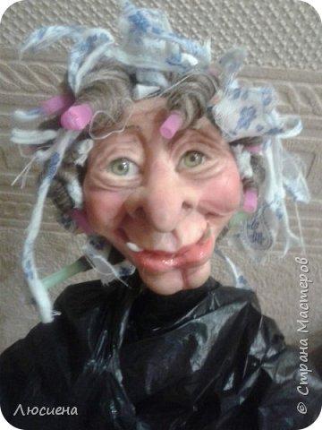 Бабка ежка. Кукла ручной работы.высота 40 см .Выполнена в смешанной технике(пластика плюс скульптурный текстиль) фото 12