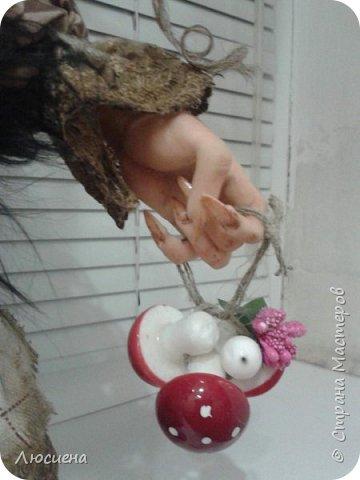 Бабка ежка. Кукла ручной работы.высота 40 см .Выполнена в смешанной технике(пластика плюс скульптурный текстиль) фото 4