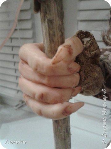 Бабка ежка. Кукла ручной работы.высота 40 см .Выполнена в смешанной технике(пластика плюс скульптурный текстиль) фото 5