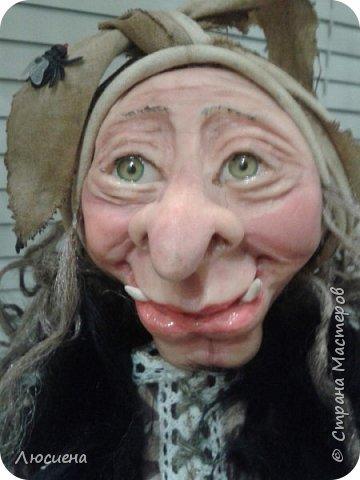 Бабка ежка. Кукла ручной работы.высота 40 см .Выполнена в смешанной технике(пластика плюс скульптурный текстиль) фото 7